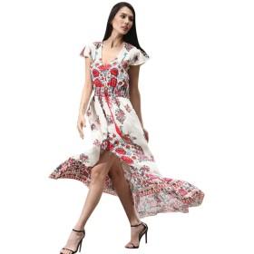 三番目の店 2018 人気 女性 スカート 花 レトロ 宮殿 Vネック イブニング パーティー ドレス 印刷 ヴィンテージ