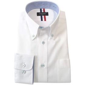 [パリス16ク] ワイシャツ メンズ 長袖 形態安定 ボタンダウン ドゥエボットーニ カッタウェイ ライトブルーボタンボックスチェック S 12