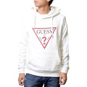 GUESS ゲス 定番三角ロゴ メンズ レディース プルオーバー パーカー 長袖 フード スウェットシャツ MH4K8503MI (XS, アイボリー)