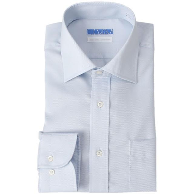 [ドレスコード101] スマシャツ 超形態安定 ノーアイロン メンズ 長袖 ワイシャツ 綿100% 【すっきりシルエット】スリム KWGL10 ワイドカラー×ブルー(ツイル織) 日本 首周り43裄丈86 (日本サイズ2L相当)