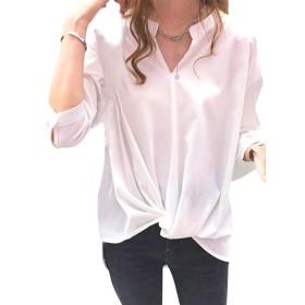 [リザウンド] シフォン ブラウス ファッション ゆったりトロミトップス カットソー かっとそー スキッパー すきっぱー すきっぱ フリル ふりる カシュクール プルオーバー ぷるおーばー ビジネス オフィス びじねす おふぃす ゆったり Tシャツ Tシャツ ティシャツ tシャツ 人気 にんき ニンキ 刺繍 ししゅう ペプラム ぺぷらむ はるもの はるふく なつもの なつふく 白 XL 501