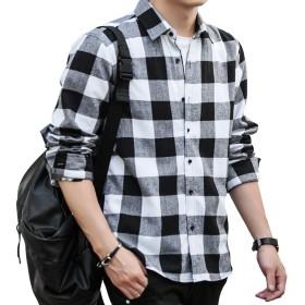 チェックシャツ メンズ 長袖 ネルシャツ カジュアル 大きいサイズ シルエット フランネルシャツ (XL, ブラック)