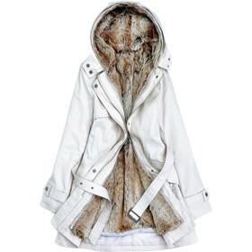 Lisa Pulster レディース モッズコート アウター コート ジャケット 裏ボア ミリタリーコート 中綿コート 長袖 中綿 フード付き フェイクファー ミリタリー ロング 2way カジュアル エレガント 大きいサイズ (ベージュ, 3XL)