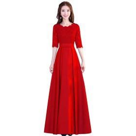 会社の年次総会 ホスト 宴会 イブニングドレス フォーマルドレス パーティー ドレス 結婚式 演奏会 レース ミディアムロングドレス 中袖 刺繍 ワンピース レディース M-3XL (M, 赤い丸首2)