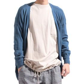 バレッタ オーバー サイズ ビッグ 綿 ニット カーディガン ワイド ストレッチ 無地 長袖 カジュアル メンズ ブルー Lサイズ