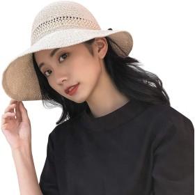 Limakara麦わら帽子 レディース UVカット 折り畳み リボン つば広 ワイヤー入り 夏 リゾート サンバイザー 大きい おしゃれ ひよけ 軽量 小顔効果 可愛い サイズ調節可 取り外しあご紐付き 女優帽 旅行用(ベージュ)