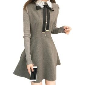 [もうほうきょう] ニットワンピース Aラインスカート フレアスカート 大きいサイズ 秋冬の新型 長袖 スカート ラジャ レディース 女性 ショート (グレー, 4XL)