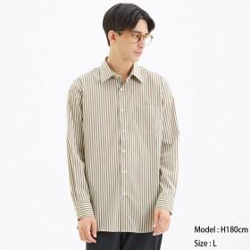 (GU)ストレッチブロードシャツ(長袖)(ストライプ)CL BEIGE XL