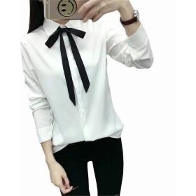EASONDDD ボウタイ ブラウス レディース シャツ 長袖 ボウタイ 可愛い リボン ブラウス 大きいサイズ 白 シャツ ホワイト シンプル きれいめ