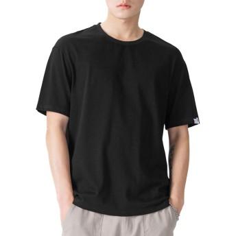 メンズ tシャツ 半袖 夏服 コットン 大きいサイズ 無地 メリヤス 丸首 速乾 吸汗性 柔らかい 通気性抜群 (ブラック, XL)