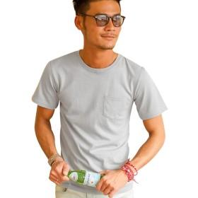 (キャバリア)CavariA メンズ 半袖 無地 Tシャツ クルーネック ポケット付き ストレッチ カットソー シンプル 44(M) GRY
