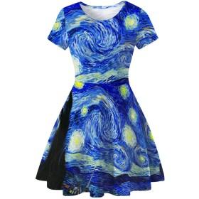 Homemaple 3Dプリント レディース ワンピース ドレス セクシー 女性 ドレス  丸ネック ノースリーブ Aライン ドレス セクシー レディーズ ワンピース (M, ヴァンゴッホの渦)