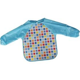 子供用 防水 スモック ランチエプロン 水玉模様 (ブルー)