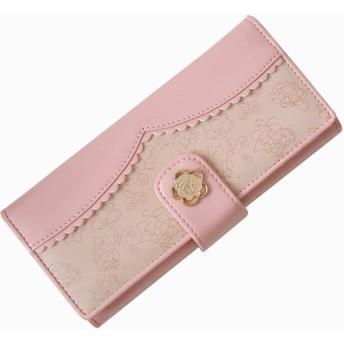 スヌーピー 花柄 財布 ピンクローズ バラ L字ファスナー財布 二つ折り財布 レディース財布 130024