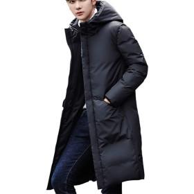 (アイラブコス)iLoveCos ベンチコート ロング ダウンジャケット メンズ ダウンコート 洗浄 ダウン ベーシック カジュアル ビジネス 厚手 暖か スタイリッシュ 防寒 撥水 ダウン飛び出し防止 ファッション フード付き (3XL-(日本サイズ2XL相当), ブラック)