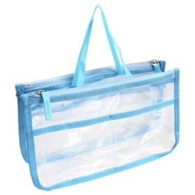 透明クリア バッグインバッグ 透明 クリア トートバッグの中をすっきり 整理整頓 男女兼用 小分け 収納 鞄 小物収納 インナーバッグ 旅行用品 おしゃれ コスメポーチ (SKY(スカイ))