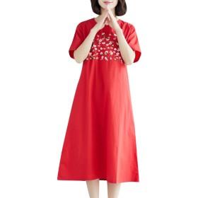 ドレス レディース 赤 Rexzo 花柄 半袖 綿麻ワンピース カジュアル ゆったり リネンワンピ 森ガール 癒され系 ワンピース 体型カバー 着心地 スカート 膝下丈 着やせ ロングスカート 日常 通学 お出かけ