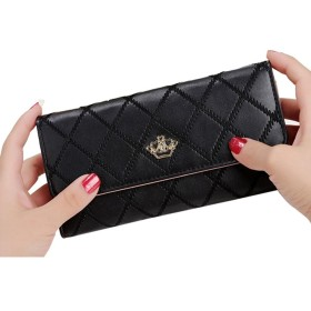 Pawaca 財布 レディース 小銭入れ付き カードポケット付き 三つ折り 大容量 全8色 女性財布 おしゃれ スナップボタン 長財布 プレゼント ピアノブラック