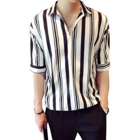 [グードコ] 夏服 ハワイシャツ メンズ Tシャツ 五分袖 半袖 ストライプ ボーダー柄 トップス シャツ 4カラー ゆったり カジュアル カットソー 潮 かっこいい ホワイト 2XL