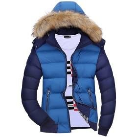 Mr.Streamメンズ防寒軽量 ジャケット防風カジュアル上着秋フード付き保温長袖コート冬 3XL Light Blue