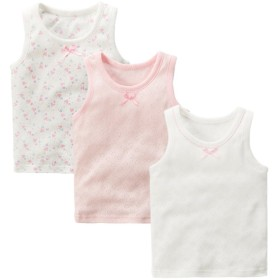タンクトップ キッズ 女の子 子供用 Maya's ジャカード織り 綿100% かわいい 女児タンクトップ 3枚組 80~140cm(80,ハート柄)
