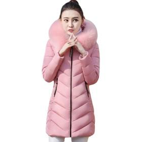 BSCOOLレディース 中綿ジャケット スリム ダウンコート 冬服 あったか 防寒 綿入れコート フード付き 防風 アウター(Dピンク)