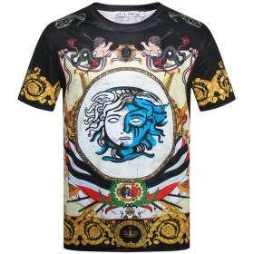 Pizoff(ピゾフ) メンズ Tシャツ 半袖 柄 派手 面白 お兄系 ストリート 大きいサイズ カットソー 夏服AC148-08-XL