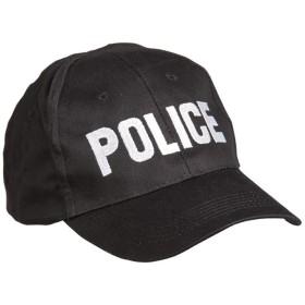 Mil-Tec ベースボールキャップ POLICE ロゴ刺繍 フリーサイズ BLACK