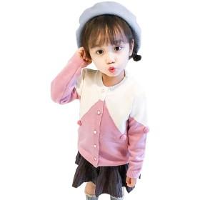MiXiaoJie 子供服 女の子 ニットセーター 長袖 可愛い ポンポン飾り ベビー服 カーディガン 編み物 ラウンドネック 前ボタン 切り替え 重ね着風 防寒 暖かい 秋冬 ファッション カジュアル (5歳(110-115cm), ピンク)