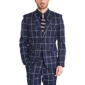 Hanayome メンズスーツ スリーピース スリムスーツ チェック柄 カジュアル 防シワ 大きいサイズ 礼服 紳士 スーツ お洒落 かっこいい 英国風 SI89 (ブルー,42)