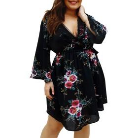 プラスサイズの女性フローラルVネックラップローカットドレスレディースベルスリーブサマードレス