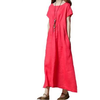 レディース ワンピース 綿麻 ロング丈 Aライン半袖ゆったりカジュアルシンプル大きいサイズ着痩せ紺赤 (XL, レッド)