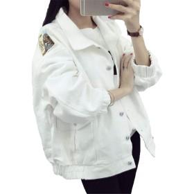 (ジュンィ) レディース デニム ジャケット春物 ジージャン Gジャン トップス コート 原宿系 ゆったりホワイトS