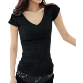 (アナトレ)Anotre レディース Vネック 半袖 Tシャツ カットソー 無地 トップス( ホワイト、ブラック、グレー S M L XL XXL ) (XL, V_ブラック)