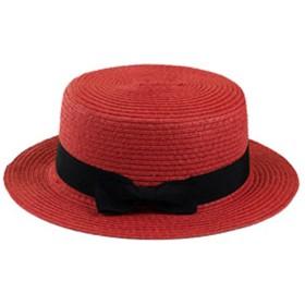 Plus Nao(プラスナオ) カンカン帽 レディース メンズ 帽子 ストローハット ユニセックス 男女兼用 ぼうし レッド -