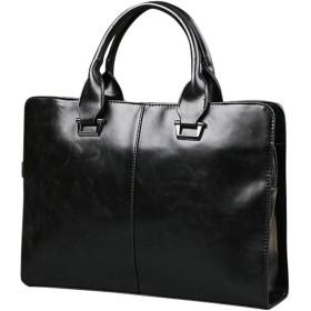 D-SACK 2way ビジネス 肩掛け トート ハンド バッグ A4 サイズ ブリーフ ケース pu ショルダー バック 書類 手提げ 通勤 鞄 PC (ブラック)