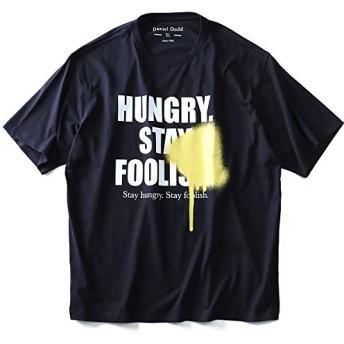 DANIEL DODD オーガニックプリント半袖Tシャツ(HUNGRY) azt-180241 大きいサイズ メンズ【106.ネイビー-3L】