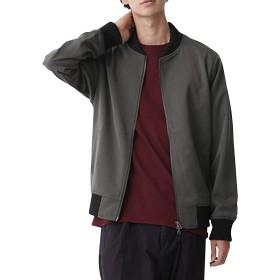 (モノマート) MONO-MART スーツ地 MA-1 ジャケット 厚手 ストレッチ TR メンズ ma-1 ブラックチャコール Lサイズ