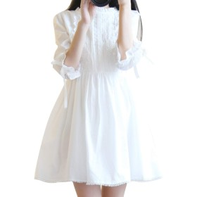 LOOVOOドレス 半袖 森ガール ワンピース 少女 無地 刺繍 ゆったり ゴシック可愛い パジャマ ロリータ (WH-M)