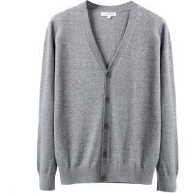 ODFMCE カーディガン メンズ Vネック セーター ニット 無地 綿 春秋 ビジネス 大きいサイズ (ライトグレー, XXL)
