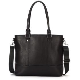 DAVIDNILEメンズトートバッグ 2WAYビジネストート 高級PUレ革 ビジネスバッグ 男女兼用 シンプル 大容量 カバン A4対応 ビジネス カジュアル(HC1961-Black)
