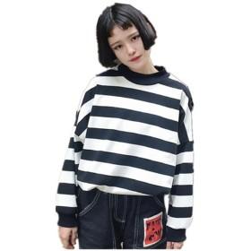 レディース スウェット トップス 長袖 ボーダー柄 トレーナー プルオーバー ゆったり 原宿系 韓国ファッション