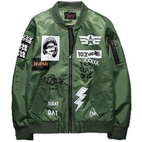 メンズ防水性と防風性の薄いコートフライトジャケットジッパープリントジャケットブラック  アーミーグリーンレッドM L XL XXL XXXL (アーミーグリーン, XXXL)