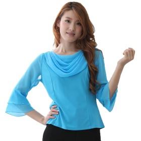 (ウイング) WING コーラス衣装 ブラウス 演奏会 ステージ パーティー カラオケ衣装 レディース ダンスウェア 衣装 白 オフ白あり Mサイズ Lサイズ LLサイズ 選べるサイズ (サイズ・色は変えてください) (CU31096) (M, ブルー)