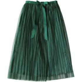 (アッシュランゲル) ASHERANGEL レディース チュールスカート 二重 リボン フレア ミモレ丈スカート グリン