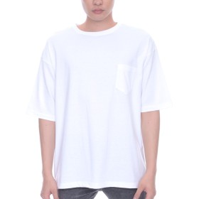 ティーシャツドットエスティー Tシャツ 半袖 無地 ビッグシルエット ポケット付き 5.6oz メンズ ホワイト L