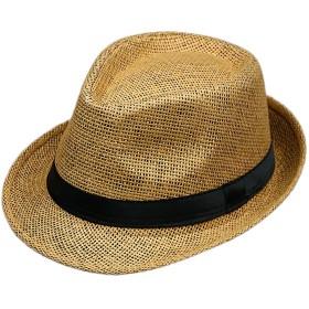 GETS(ゲッツ) 麦わら帽子 ストローハット ペーパーポケッタブルハット パナマ帽 中折れ ハット 洗える帽子 リボン付き メンズ レディース 春 夏 アウトドア (コーヒー)