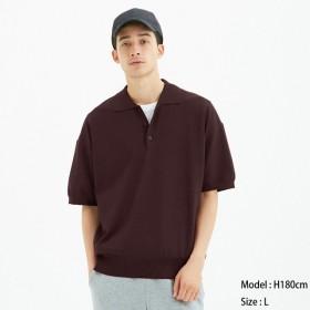 (GU)ニットポロシャツ(半袖)CL WINE L