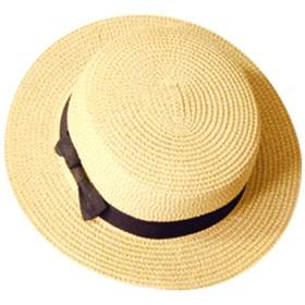 カンカン帽 レディース 帽子 カンカン帽子 かんかん帽 かんかん帽子 ストローハット 麦わら帽子 麦わら帽 むぎわら リボン (フリーサイズ, ベージュ)