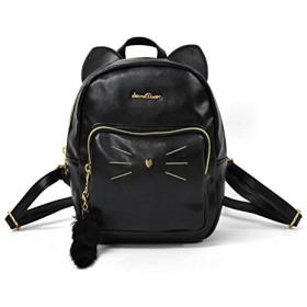 ミニリュック フェイクレザー 猫 (BLACK)
